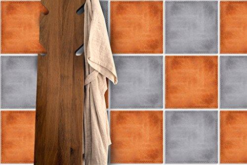 Piastrelle da parete adesivi, decorazione effetto pelle, colore: arancione (confezione da 24)