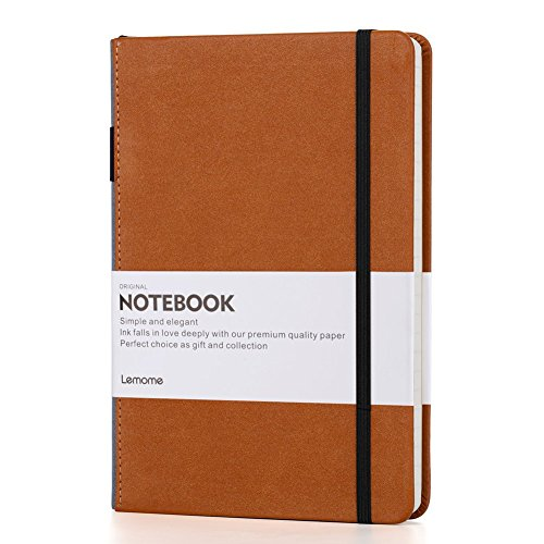 Thick Classic Notebook with Pen Loop - Lemome A5 Wide Ruled Hardcover Writing Notebook with Pocket + Page Dividers Gifts, Banded, Large, 180 Pages, 8.4 x 5.7 in