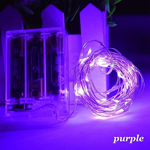 1m - 10m LED String Light 9 Colors Fairy Lights 10-100LEDs Copper Wire Battery Powered for Wedding Xmas Party Decor Holiday Lamp - purple,9M 90LEDs