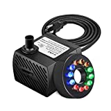 BestFire 90 GPH (350L/H, 5W) Submersible Water Pump, Ultra Quiet Fountain Water Pump with 5.9ft Power Cord, 12...