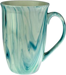 Mug - Marble Finish Ceramic Coffee Mugs 16 Ounce - Beautiful Hand Crafted Marble Finish Ceramic Stoneware Coffee and Tea Cup (Marine Blue, 1)