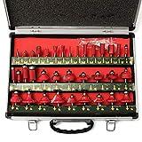 Router Bit Set Fresas Herramienta de trabajo de madera 35pcs Set Bit 1/4 pulgadas de la caña de carburo de tungsteno Consejo Router Una herramienta de fresa