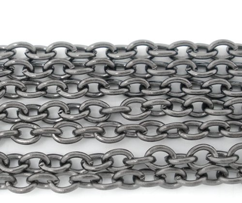 JGFinds Lightweight Cable Link Chain - 10 Meter Gunmetal Chain for Jewelry Making - Over 30 Feet, Small 2x3mm, Not for Heavy Items (Gunmetal)