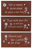 levandeo Schilder 3er Set Eisen Rost B x H 40x20cm Rotbraun Garten Deko Sprüche Wanddeko