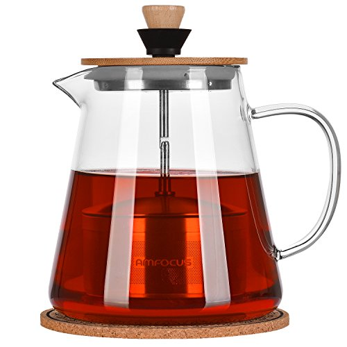 Túasia 18/10 Stainless Steel Infuser Blooming and Loose Leaf Teapots,Borosilicate Maker 32oz, Glass Tea Kettle Stove Top, P-1