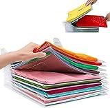 Organizador de Armarios Ropa - Camiseta Carpeta, Organizador Plegable Apilamiento Camisas Camiseta Folder,Tamaño Normal, Transparente (40Pcs)