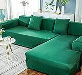 Funda de sofá en forma de L, 1,2,3,4 asientos, funda de sofá chaise longue en forma de L, funda de sofá elástica de poliéster, funda de sofá de esquina, con dos fundas de almohada-02-2 plazas (57x73