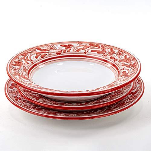 Juego de 3 platos individuales para servir platos de cerámica de Caltagirone