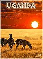 ERZAN風景 知育 puzzleウガンダゼブラサファリアフリカアフリカビンテージ旅行広告ジグソーパズル500ピース