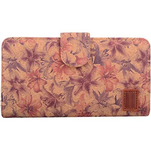 Valita Damen Geldbörse aus Kork, RFID-geschützt, zweifach gefaltet, für Kreditkarten/Geld/Münzen, Braun - Lillies - Größe: Einheitsgröße