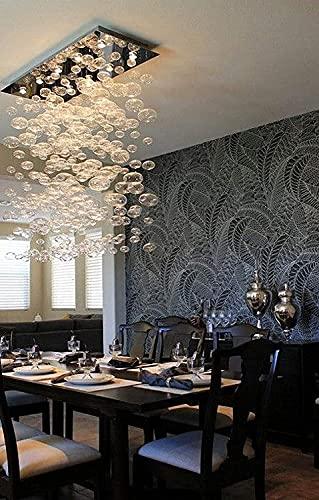 PXY Lámpara de araña de burbuja contemporánea iluminación rectangular de vidrio de burbuja empotrado luces de techo LED para cocina isla comedor restaurante L55 X W11.8 X H47.2