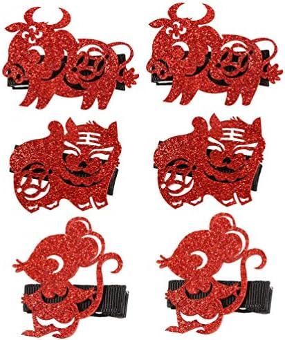 Lurrose 6pcs Kids New Year Hair Clips Glitter Chinese Zodiac Paper Cut Hair Clip Retro Hair product image
