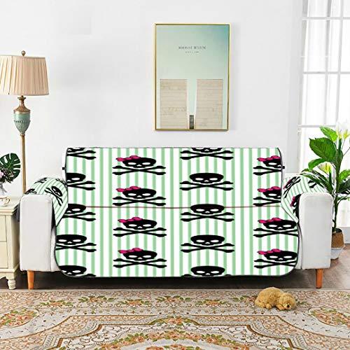 WDDHOME Girly Totenkopf mit gekreuzten Knochen auf gestreiften Sofabezügen Schonbezug für Stühle Stretch-Sofabezug 168 cm (66 Zoll) Für 3-sitzige Maschinenwäsche-Armlehnstuhlbezüge