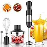 EdorReco 5 in 1 Ultra-Stick 12-Speed Immersion Multi-purpose Hand Blender Equip with 600 Watt Heavy Titanium Reinforced Motor, 304 Stainless Steel, Milk Frother, Whisk, 20oz Container, 17oz Chopper