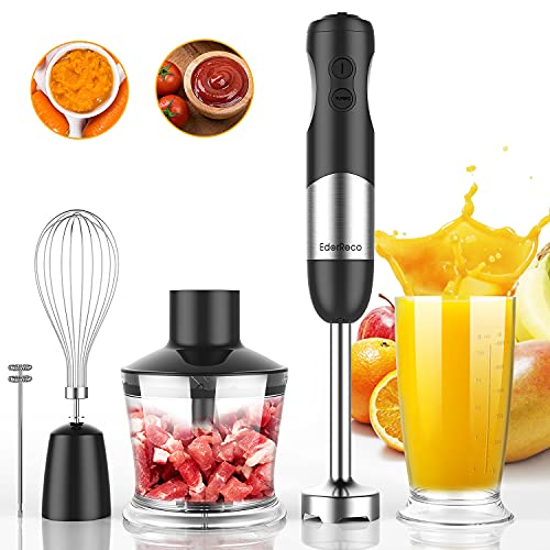 5-in-1 Immersion Hand Blender, Powerful 600W Motor, 12-Speed Multi-purpose Blender with Stainless Steel Blades, with Chopper, Beaker, Whisk and Milk Frother for Smoothie, Baby Food, Sauces,Puree, Soup