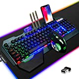 Gaming Keyboard Mouse & Mouse Pad Kit,3 in 1 Rainbow Backlit Rechargeable Wireless Keyboard Mouse with 3800mAh Battery Metal Panel Removable Hand Rest,RGB Gaming Mousepad(32.5x12inch),Gaming Mouse