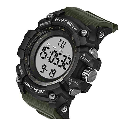 xiaocheng Los Hombres de electrónica Digital Reloj Deportivo Militar de Cuenta atrás de Lectura fácil de Pulsera con Brazalete de Resina Impermeable Ejército Cronómetro Ornamentos Lindos Verdes