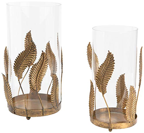 Amadeus Set de 2 photophores Feuilles dorées en métal
