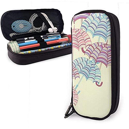 Gestreifte Regenschirme mit Griffen Federmäppchen, große Kapazität Bleistift Tasche Make-up Beutel