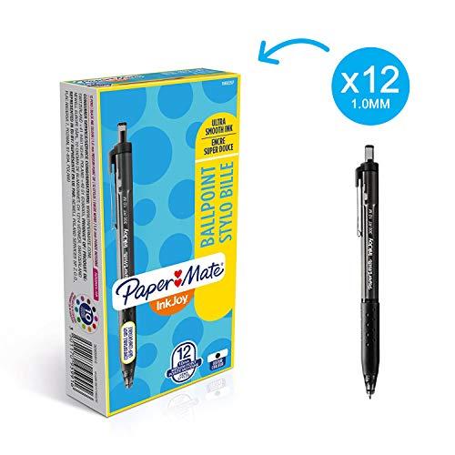 Papermate S0959910 Inkjoy 300 Scatto, Grip in Gomma, Media, Confezione da 12, Nero