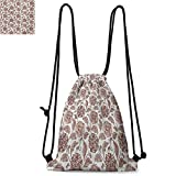 Floral Easy to Carry Drawstring Backpack Earth Tones Blossom Chrysanthemums Cottage Foliage Ornamental