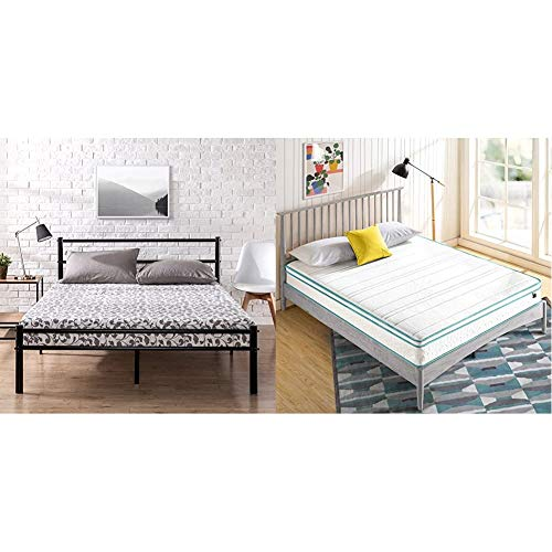 Zinus Geraldine 12 inch Black Metal Platform Bed Frame with Headboard and Footboard with ZINUS 8 Inch Memory Foam Spring Hybrid Mattress