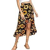 Falda Midi para Mujer Y2K Estampado Girasol Falda Mujer 90S Vintage Cruzada Cintura Alta Falda Verano Recta Casual (Negro, L)