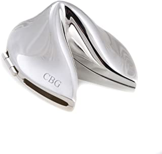 Silver Plated Chinese Fortune Cookie with Hinge, Tarnish Pro