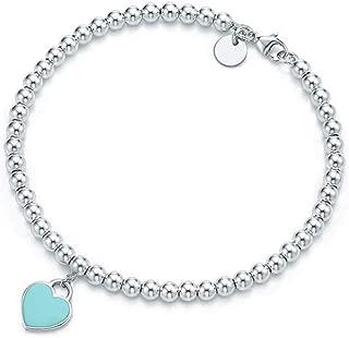 Titanium Steel Heart Charm Bead Bracelet 6mm