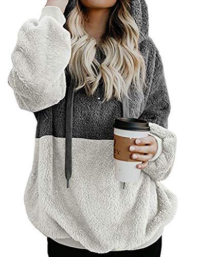 Yieune Kapuzenpullover Damen Sweatshirt Lose Casual Pullover Strickjacken Cashmere Sweater Streetwear Pulli (Grau S)