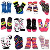 TeeHee Women's Fashion No Show/Low cut Fun Socks 12 Pairs Packs (Love Peace Lips-Rainbow Hearts)