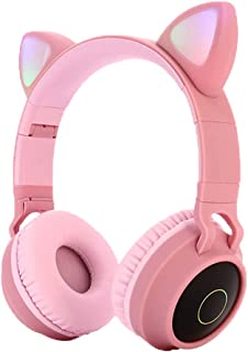 Kids Bluetooth 5.0 Cat Ear Headphones Foldable On-Ear Stereo Wireless Headset with Mic LED Light and Volume Control Suppor...