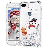 Ruky Christmas Case for iPhone 6 Plus 6s Plus 7 Plus 8 Plus, Glitter Liquid Flowing Bling Merry Christmas Pattern Design Soft TPU Fashion Cute Women Girls Children Case (Snowman & Dog)