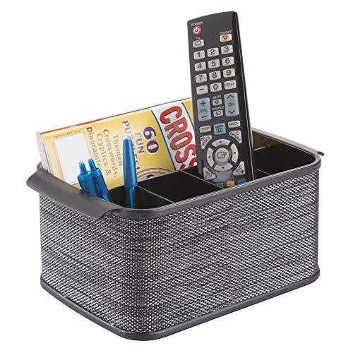 mDesign Storage Organizer Caddy for TV Remote Controls Magazines  Black