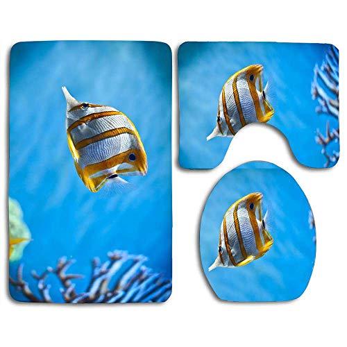 N\A Schöne Kupferband Schmetterlingsfisch in einem Aquarium 3 Stück Badezimmer Teppich Teppich Kontur Matten Sockel Deckel Abdeckung