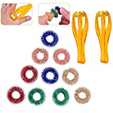 YoungRich 12 Pcs Finger Massager Ring Including 2 Pcs Rolling Hand Massager and 10 Pcs Massage Rings Fidget Sensory Toys Set for Relieving Stress Relaxing Overworked Fingers Toes