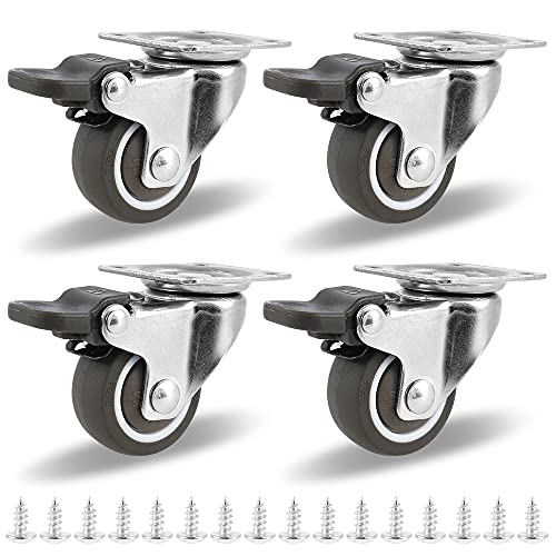 Möbelrollen,4 Stück Set Lenkrollen mit Bremse,Transportrollen,Schwerlastrollen, strandkorbrollen,Laufrollen,360° Grad drehbar,Tragkraft 50 kg nutzbar als Rollen für Möbel und schützen Sie den Boden