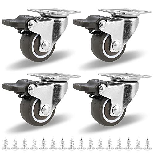 Ruote per Mobili con Freno Ruote Girevoli di 360 ° Pesanti Capacità di Carico di 50 kg Ruote Girevoli per Carichi Pesanti Adatto Per Tutti Pavimenti