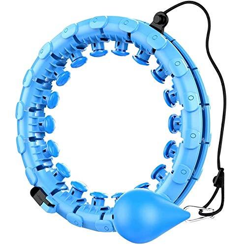 VCXZ Hula Hoop con Peso, 24 Nudos Desmontable Fitness Masaje Hula Hoop Neumático 360 ° Tamaño Ajustable Yoga Hula Hoop Peso Ajustable Bola giratoria automática Entrenamiento en casa,Azul