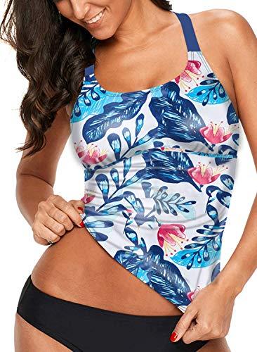 Aleumdr Womens Striped Printed Strappy Racerback Tankini Swim Top No Bottom S - XXXL - blue - Large
