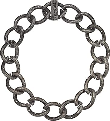 """Steve Madden 16"""" Gunmetal Tone Rhinestone Accent Large Curb Chain Design Collar Necklace for Women"""