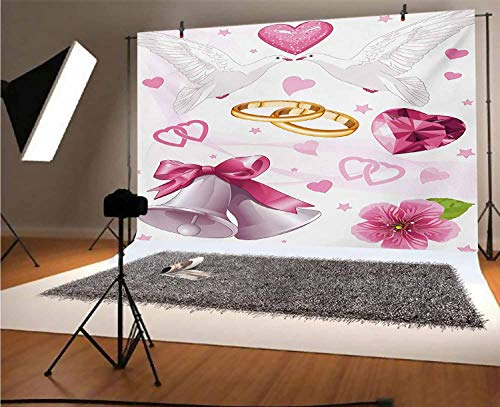 Wedding 12x10 FT Vinyl Photography Backdrop,Wedding Themed Artwork Invitation Announcement Hearts Rings Birds Happiness Background for Baby Birthday Party Wedding Studio Props Photography