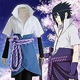 GGOODD Naruto Anime Uchiha Sasuke Cosplay Costume Halloween Hokage Susanoo Tempestuous God of Valour Yūbu No Aragami Set da 5 Pezzi,Blu,M