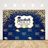 Ticuenicoa 7x5ft Royal Blue Congratulations Graduation Backdrop Class of 2021 Background Congrats Grad Gold Graduation Cap Design Photography Background Prom Photo Booth Props Cake Table Banner