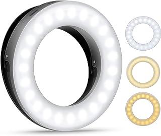 (2020 Upgraded New Version) Selfie Ring Light, 3 Lighting Modes Rechargeable Clip on Fill Light, Adjustable Brightness Pho...