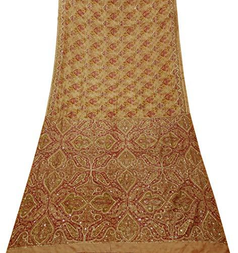 PEEGLI Vestido Vintage Melocotón Sari Para Mujer Bordado Tradicional Indio Tela De Artesanía De Seda Pura Diseño Floral Indio Ropa De Fiesta Sari