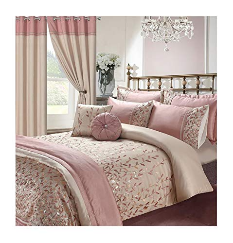 Voice 7 Soft Elegant Design Sequin Embroidery Bedding Bedroom Collections UK Sizes (Marie Pink, King Duvet Cover + 2 Pillow Cases)