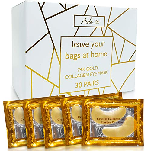 30 Pairs of Gold Under Eye Patches - 24K Gold Eye Mask for Sensitive Skin - Collagen Under Eye Mask for Dark Circles Under Eye Treatment for Women and Men - Gold Eye Masks for Dark Circles and Puffiness - Under Eye Gel Patches for Under Eye Bags Treatment - Easy to use Gold Eye Patches