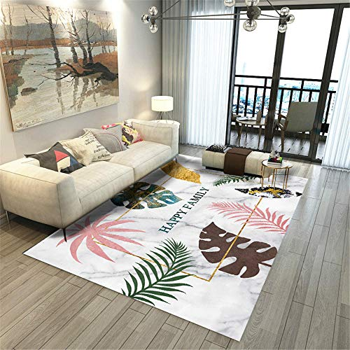 RUGMRZ Rugs For Bedroom Pink Carpet salon pink green fresh leaf pattern multi-size carpet anti-slip Carpet Rugs 100X200CM Fur Rugs For Bedroom 3ft 3.4''X6ft 6.7''
