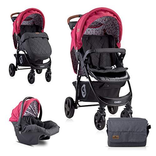 Lorelli Poussette Daisy 2 en 1, siège auto bébé, siège sport, couvre-pieds, coloris:rouge